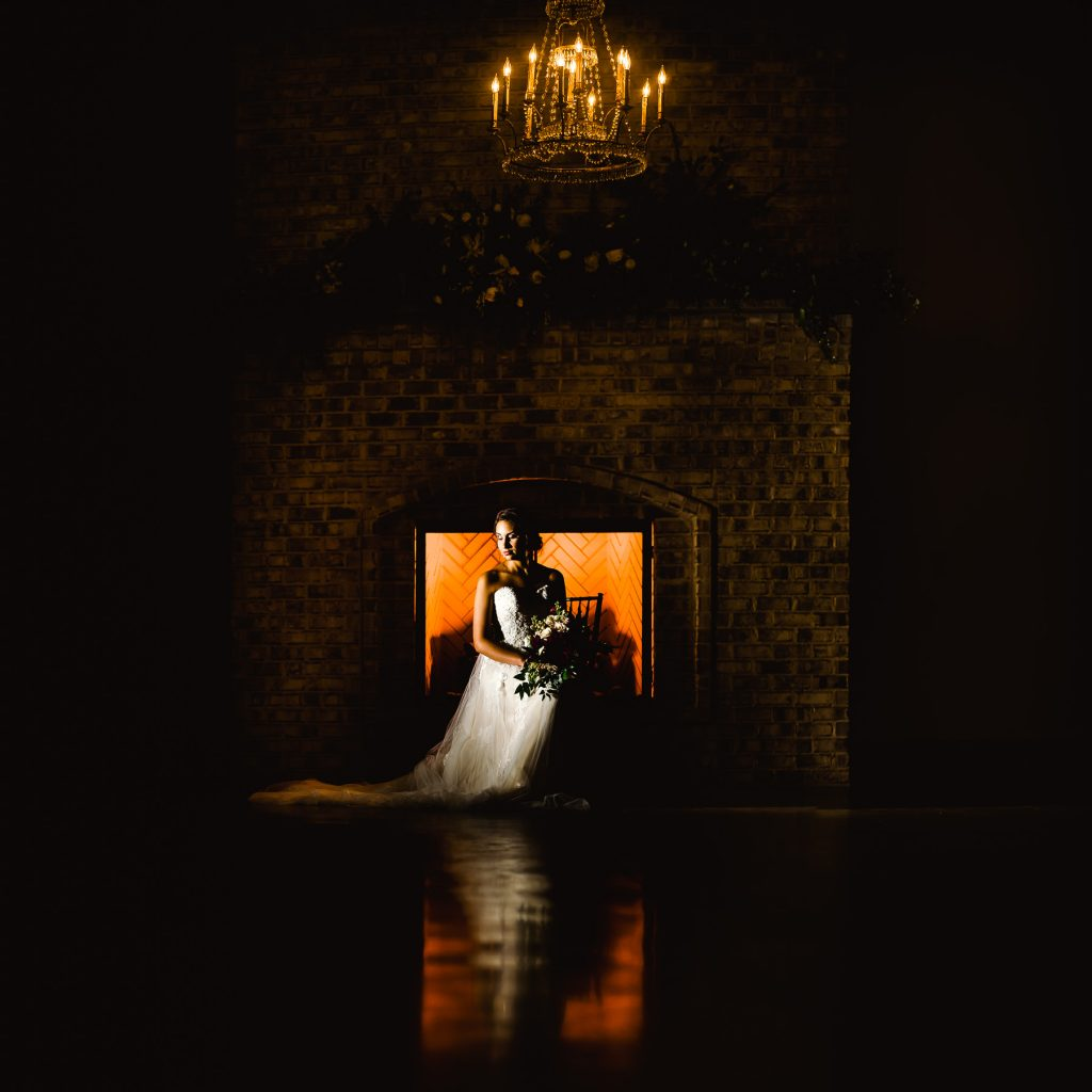 Dramatic bridal portrait at wrightsville manor NC