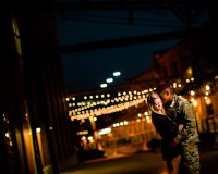 american tobacco campus night engagement photo