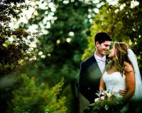 candid image of wedding couple