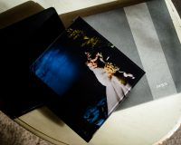 Wedding albums on coffee table