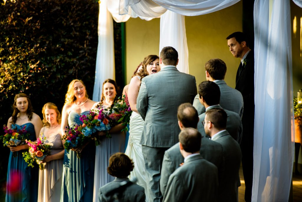 Bride reacts during ceremony