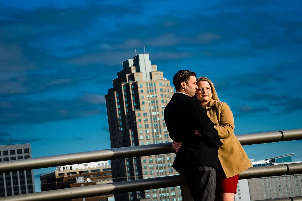Couple with a raleigh skyline view