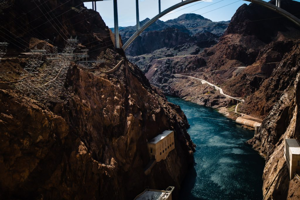 view of the hoover dam from above