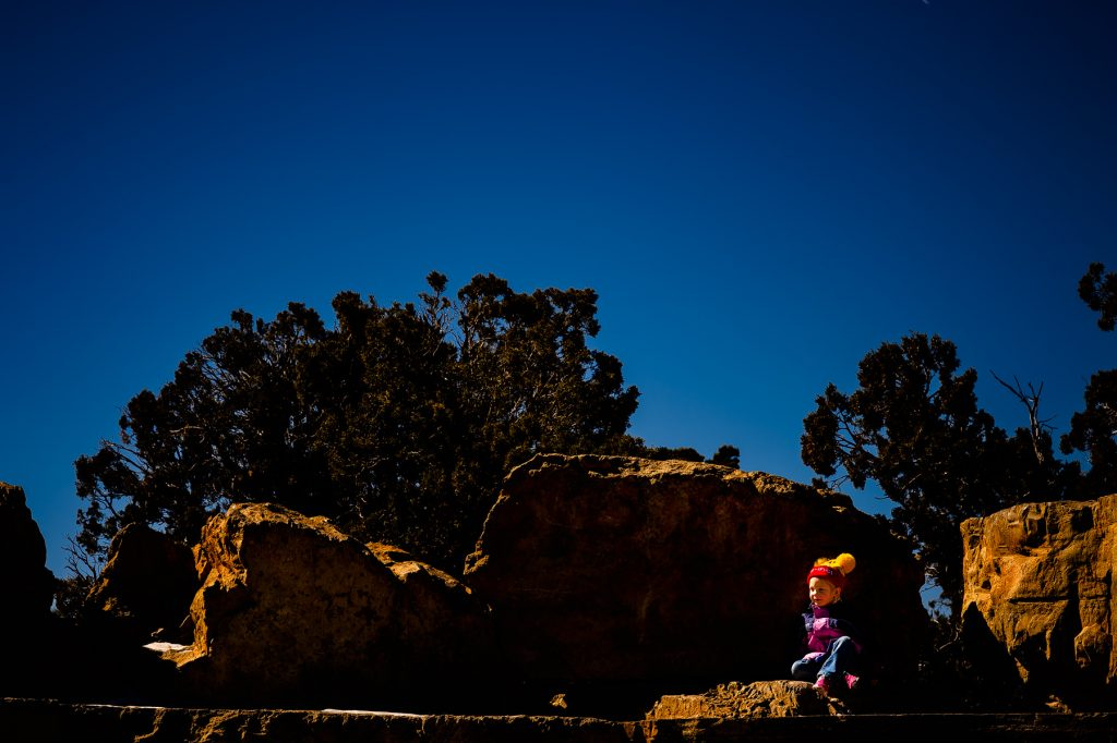 kid playing at grand canyon