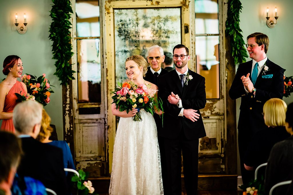 Ceremony at parlour at manns chapel