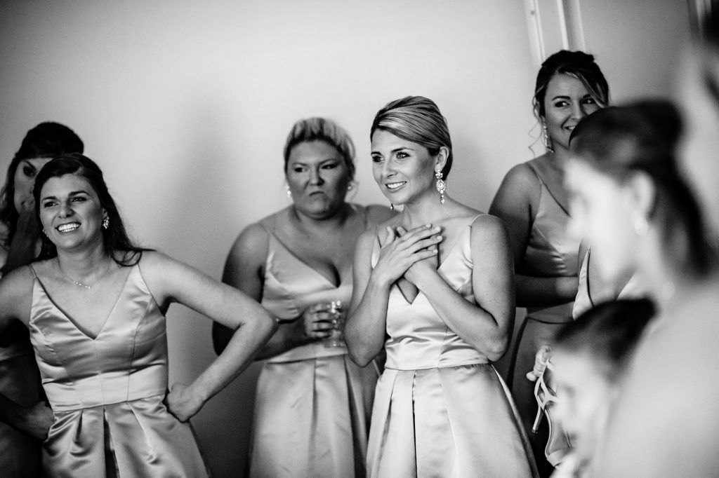 a moment with her bridesmaids