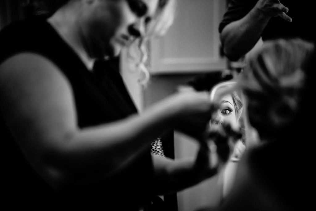 creative bride getting ready