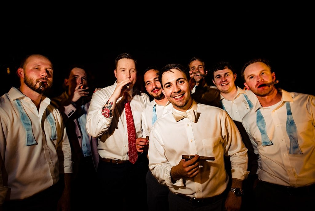 Groomsmen Cigar Smoking